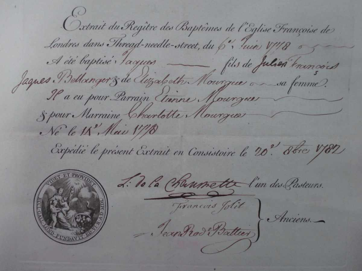 Baptism certificate of Jacques Bellanger, 6 June 1778